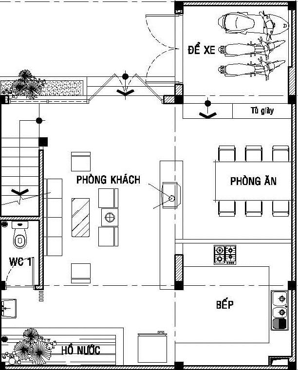 Ngôi nhà hình chữ L vuông vắn ở hẻm cụt