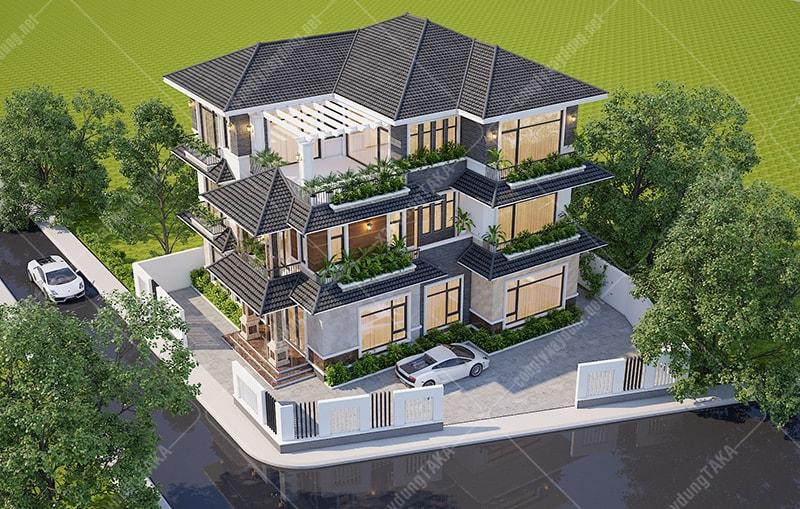 Thiết kế biệt thự sân vườn 3 tầng mái thái 14x14m2