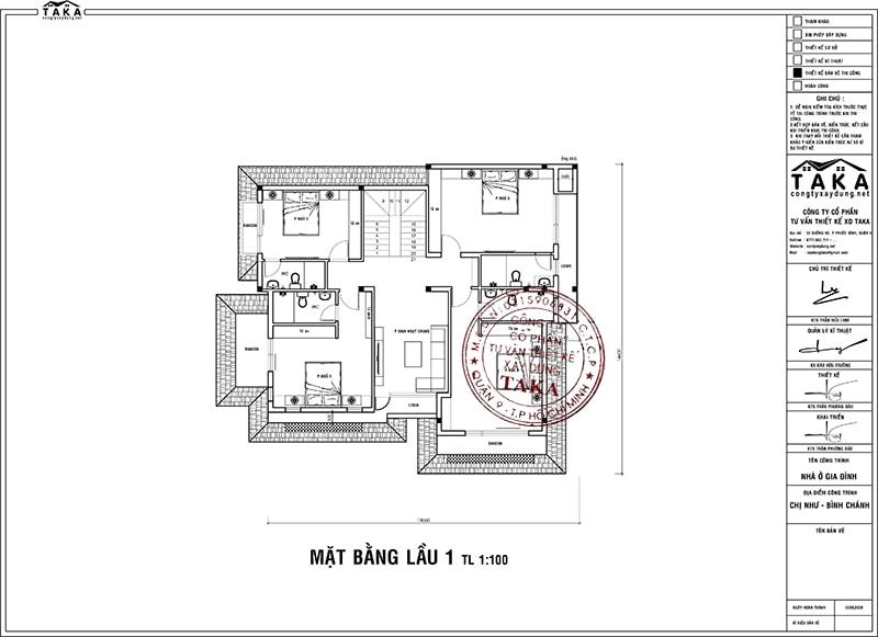 Bản vẽ mặt bằng biệt thự vườn 3 tầng mái thái 14x14m2