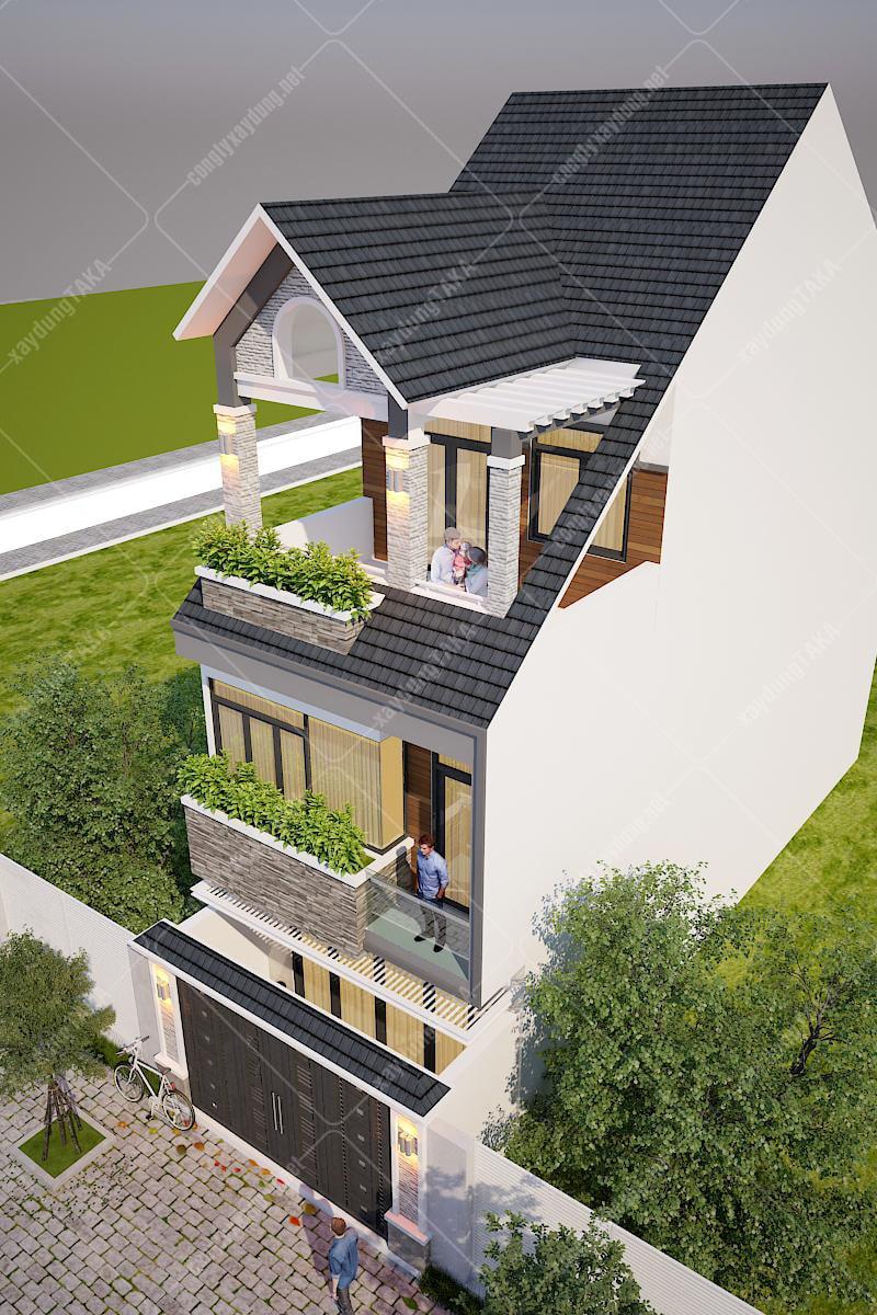 Thiết kế nhà phố 6x13m 3 tầng mái thái