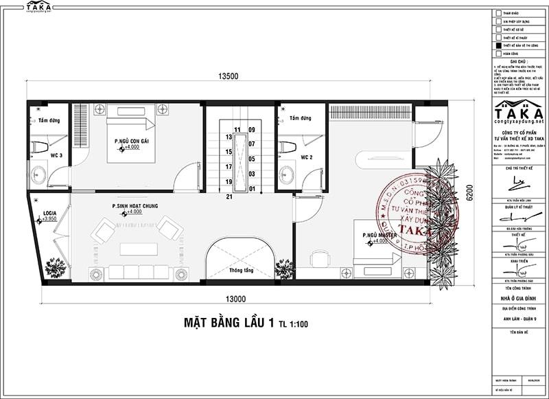 Bản vẽ mặt bằng nhà phố 6x13m 3 tầng mái thái