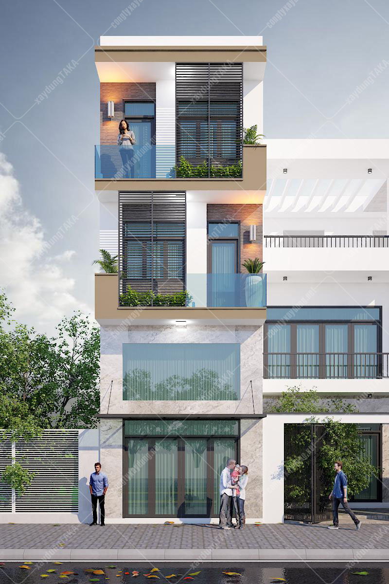 Thiết kế nhà phố có lửng 4,5m hiện đại