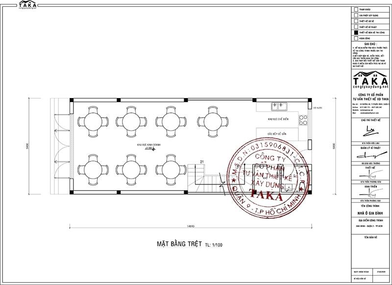 Bản vẽ mặt bằng mẫu nhà phố 6m dài 15m kết hợp kinh doanh quán ăn