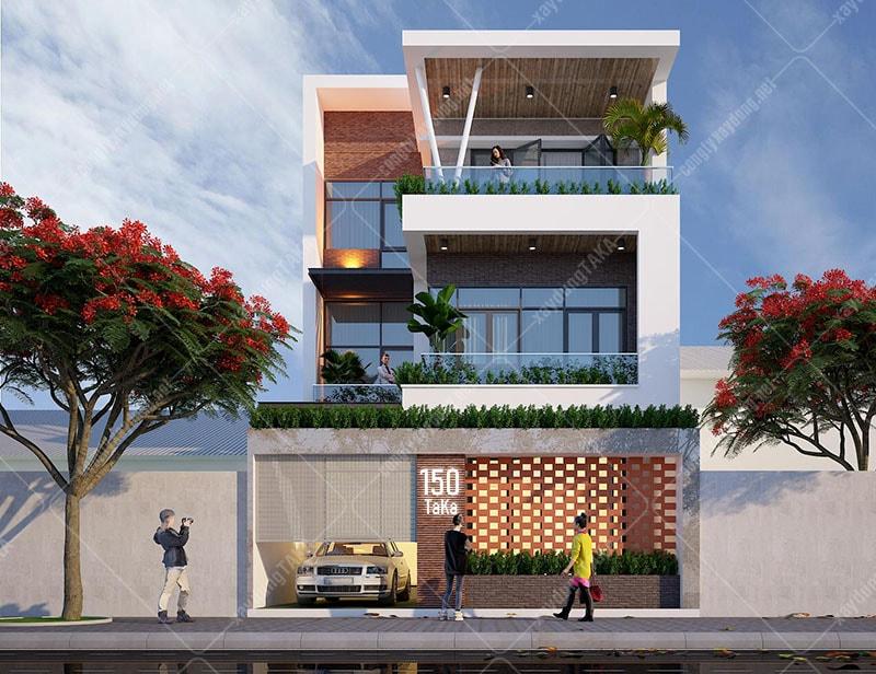 Thiết kế nhà 3 tầng mặt tiền 8m sâu 12m