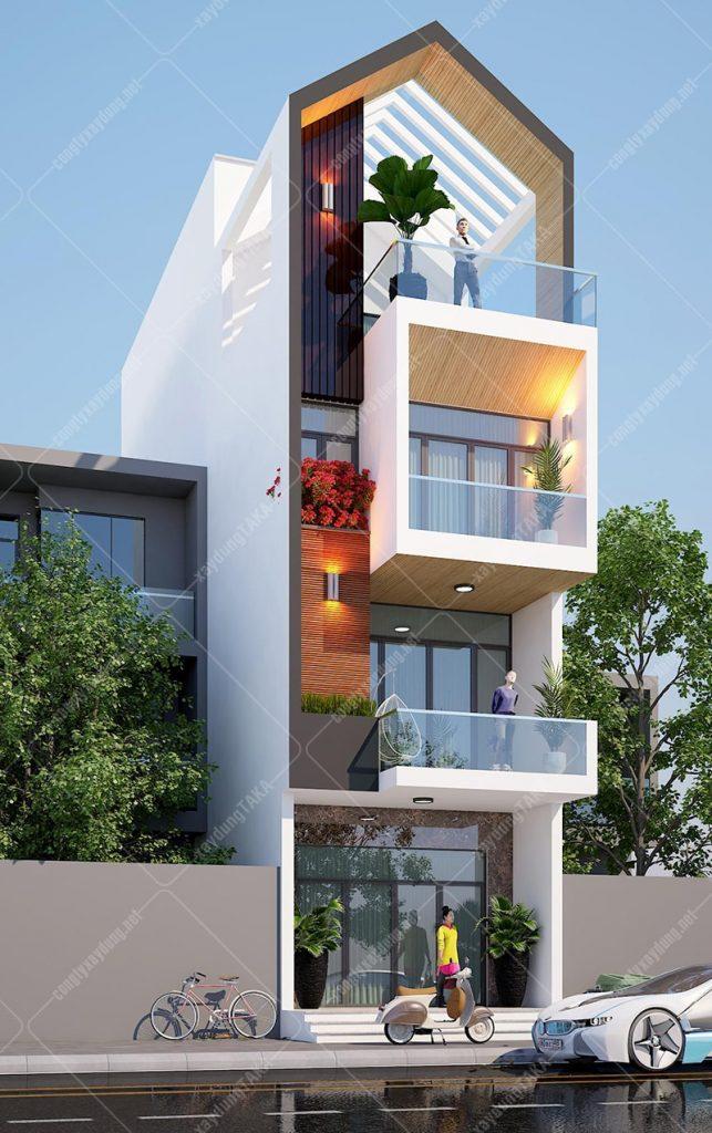 Thiết kế nhà phố 3 tầng 1 tum 5x15 mái nhọn hiện đại