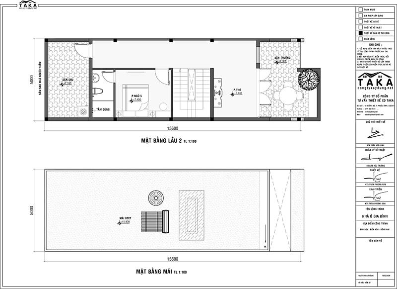 Bản vẽ mặt bằng nhà phố 3 tầng 5x16m 5 phòng ngủ