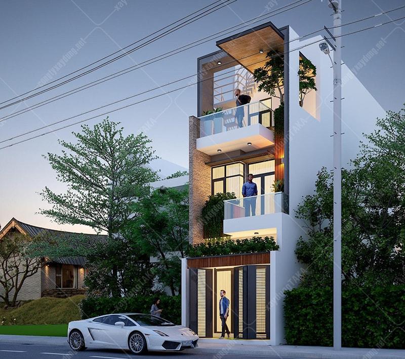 Thiết kế nhà phố 4x13 hiện đại 1 trệt 2 lầu có gara