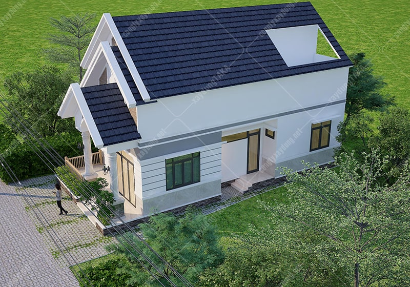 Thiết kế nhà vườn trệt 7x13m 2 phòng ngủ mái thái