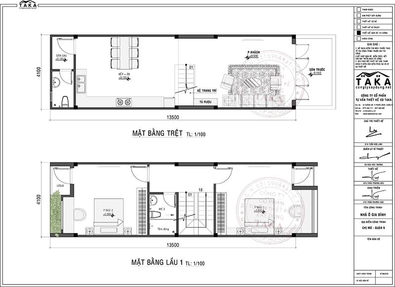 Mẫu nhà ống mặt tiền 4m dài 14m 4 phòng ngủ 1 phòng thờ