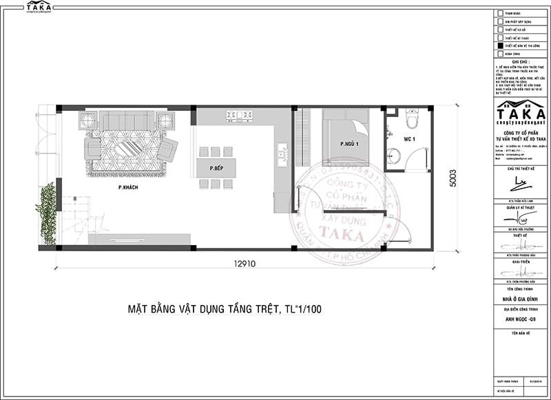 Nhà phố 1 trệt 1 lầu 5x13m 3 phòng ngủ 1 phòng thờ