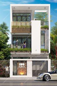 Thiết kế nhà phố 3 tầng 6x15m 4 phòng ngủ có gara
