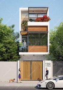 Thiết kế nhà phố 4x14m hiện đại 1 trệt 2 lầu 3 phòng ngủ