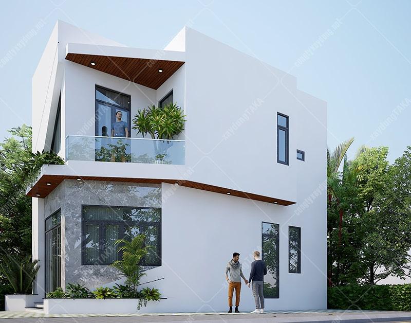 Nhà phố lô góc 2 mặt tiền 5x9m 1 trệt 1 lầu đơn giản