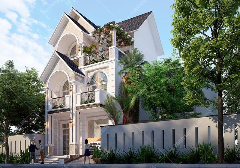 Thiết kế biệt thự 7x15m 3 tầng mái thái tân cổ điển