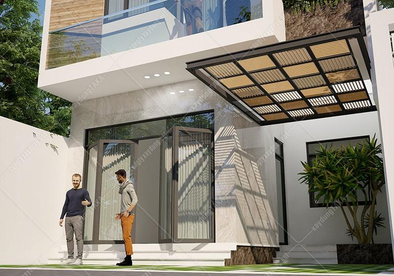 Thiết kế nhà 2 tầng rộng 7,5m dài 10m mái bằng hiện đại