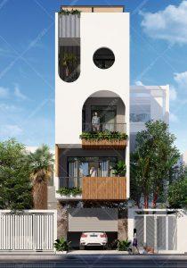 Thiết kế nhà phố 5x14m 5 phòng ngủ hiện đại