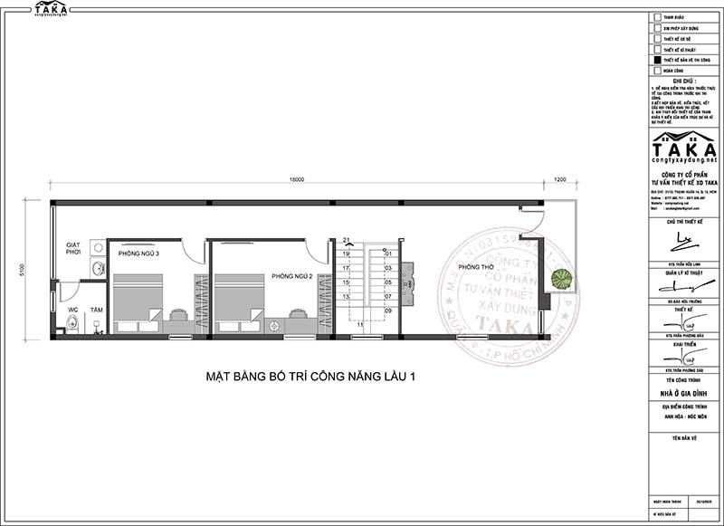 Thiết kế nhà phố 5x18m 1 trệt 1 lầu