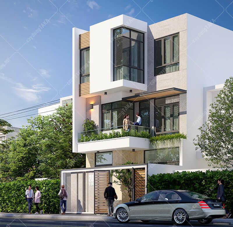 Mẫu biệt thự phố 3 tầng 7x14m hiện đại