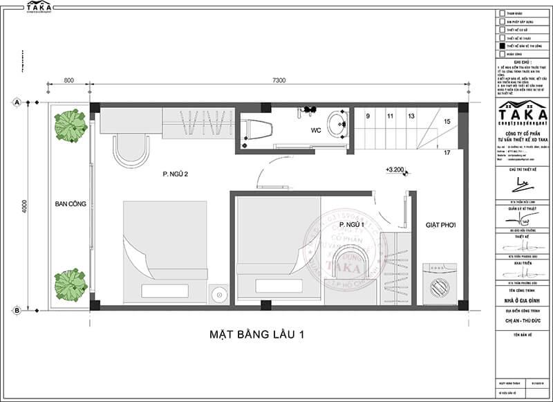 Nhà phố 1 trệt 1 lầu 4x7m