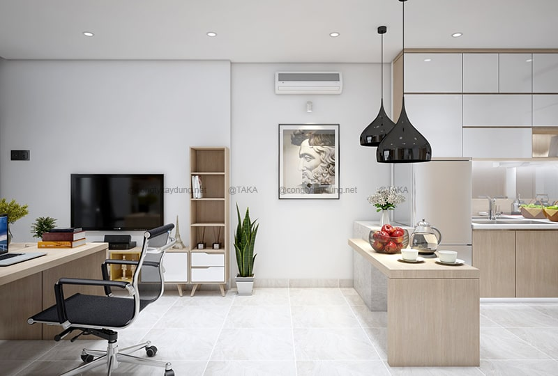 Thiết kế nội thất căn hộ 50m2 tối giản