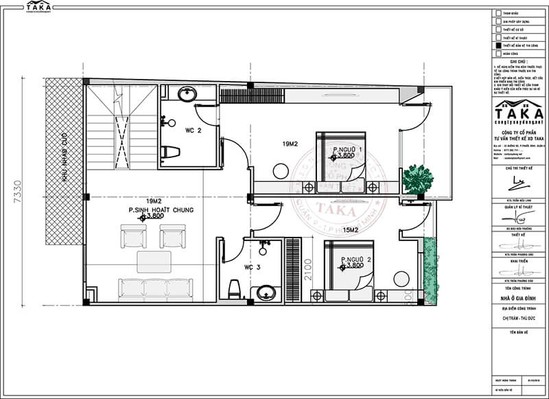 Mẫu biệt thự phố 7x11 3 tầng
