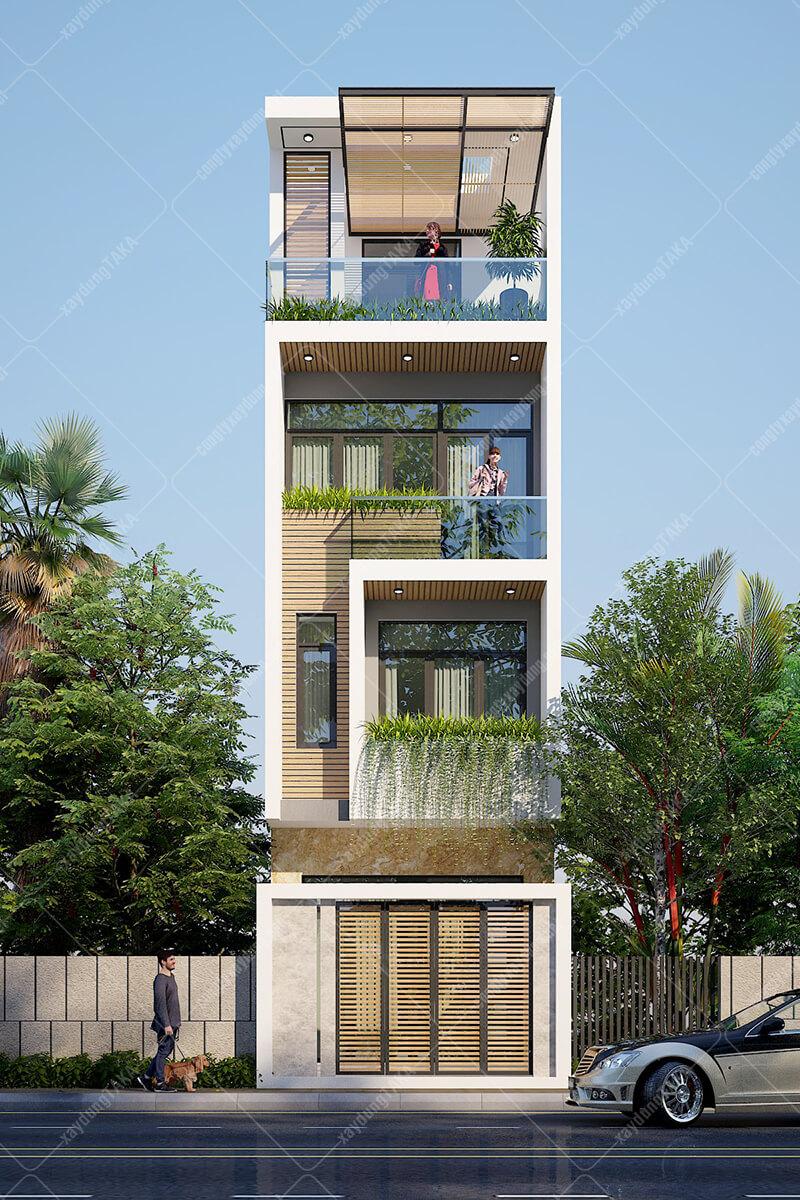 Thiết kế nhà ống 4 tầng 4x13 mặt tiền hiện đại