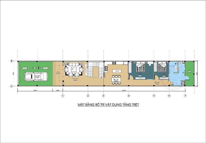 Thiết kế nhà 1 trệt 1 lầu 5x25 hiện đại 4 phòng ngủ