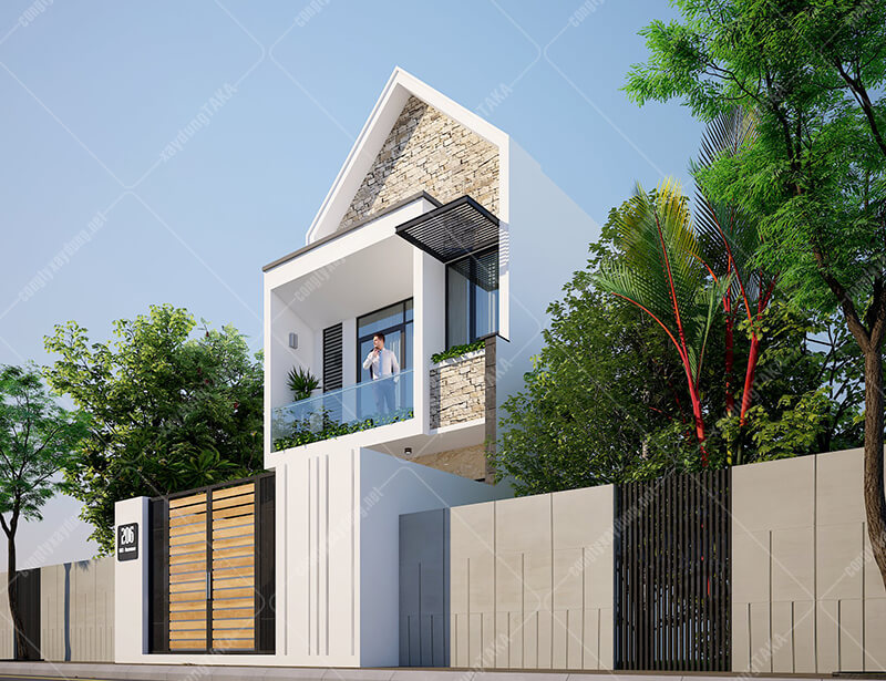 Thiết kế nhà phố mặt tiền 5,7m dài 17m 1 trệt 1 lầu