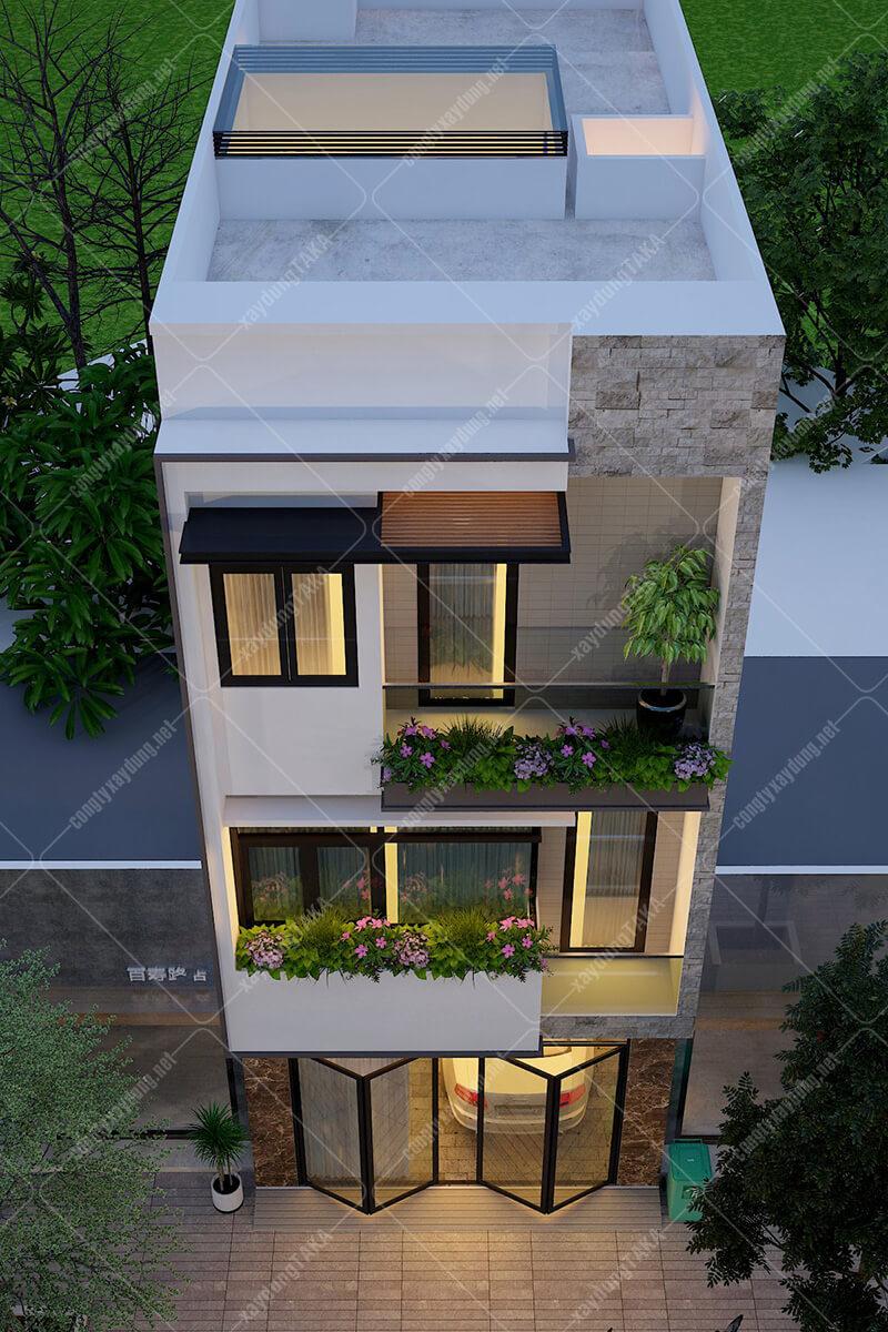 Thiết kế nhà phố 3 tầng rộng 4,8m dài 14m