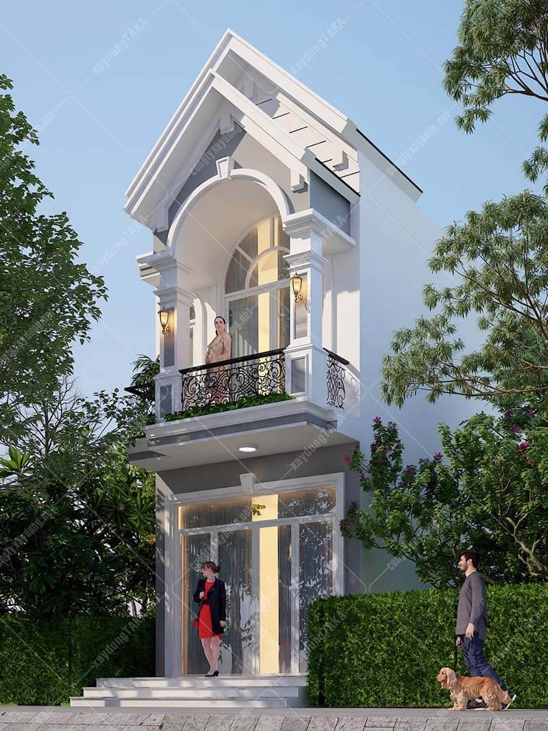 Thiết kế nhà phố 1 trệt 1 lầu 4x18 tân cổ điển mái thái