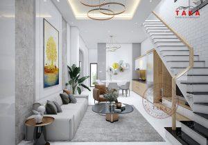 Thiết kế nội thất nhà phố 1 trệt 1 lầu 4x16m Chị Phượng - Hóc Môn