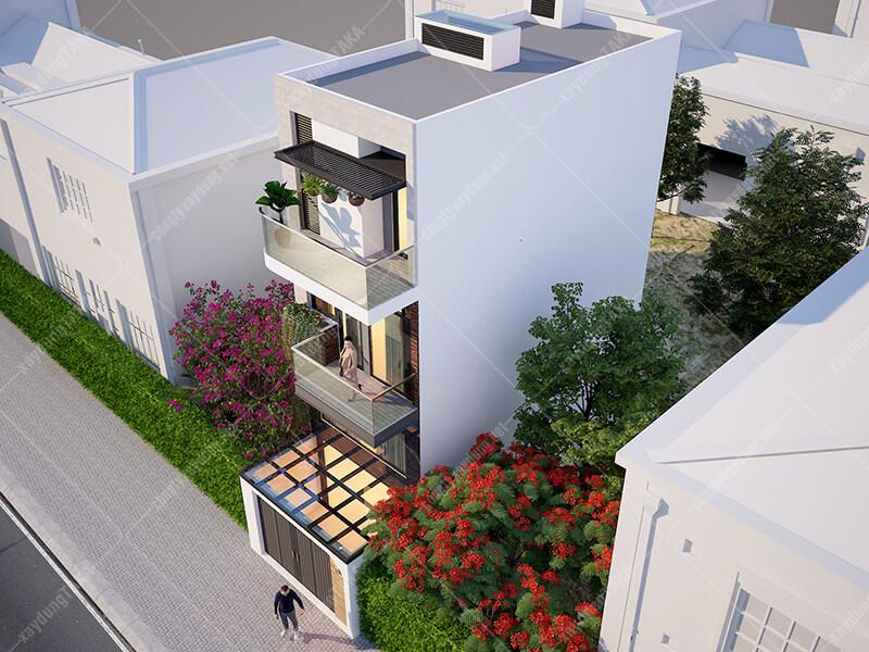 Thiết kế nhà phố rộng 4m dài 11m 3 tầng hiện đại