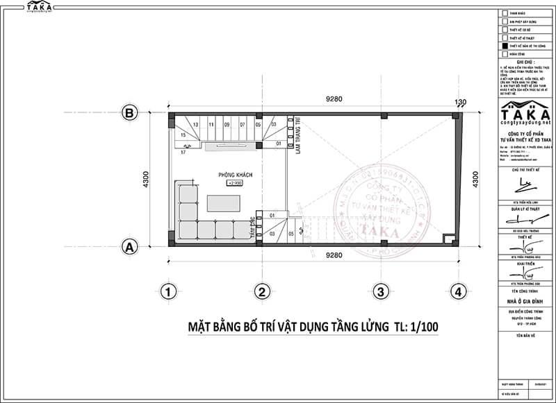Bản vẽ mặt bằng nhà phố rộng 4m dài 11m 3 tầng