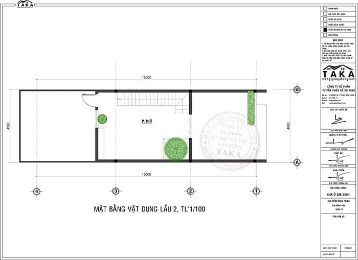 Bản vẽ mặt bằng nhà phố 3 tầng 5x15